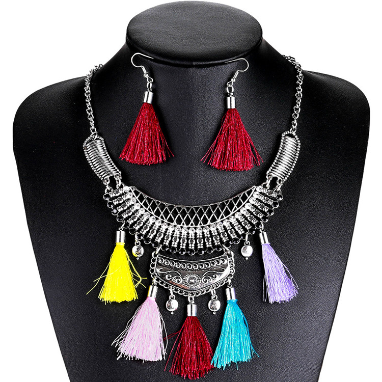 2018 New Bohemian Jewelry Sets women Crystal Line Tassel Necklace Choker Vintage Ethnic Maxi Necklace earring sets