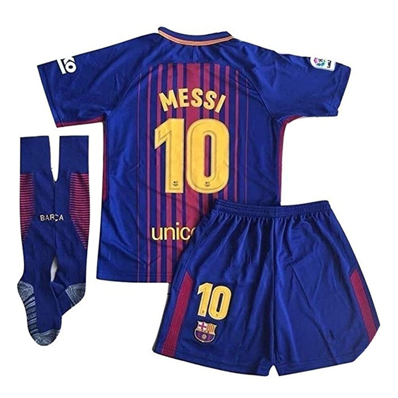 13eff77100f XIAOSHEN Brand 10  Messi Barcelona Home Kids Youth Soccer Jersey   Shorts    Socks Set