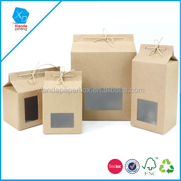 Thick Brown Kraft Paper Folding Gift Box with Rectangular Window Lace-up