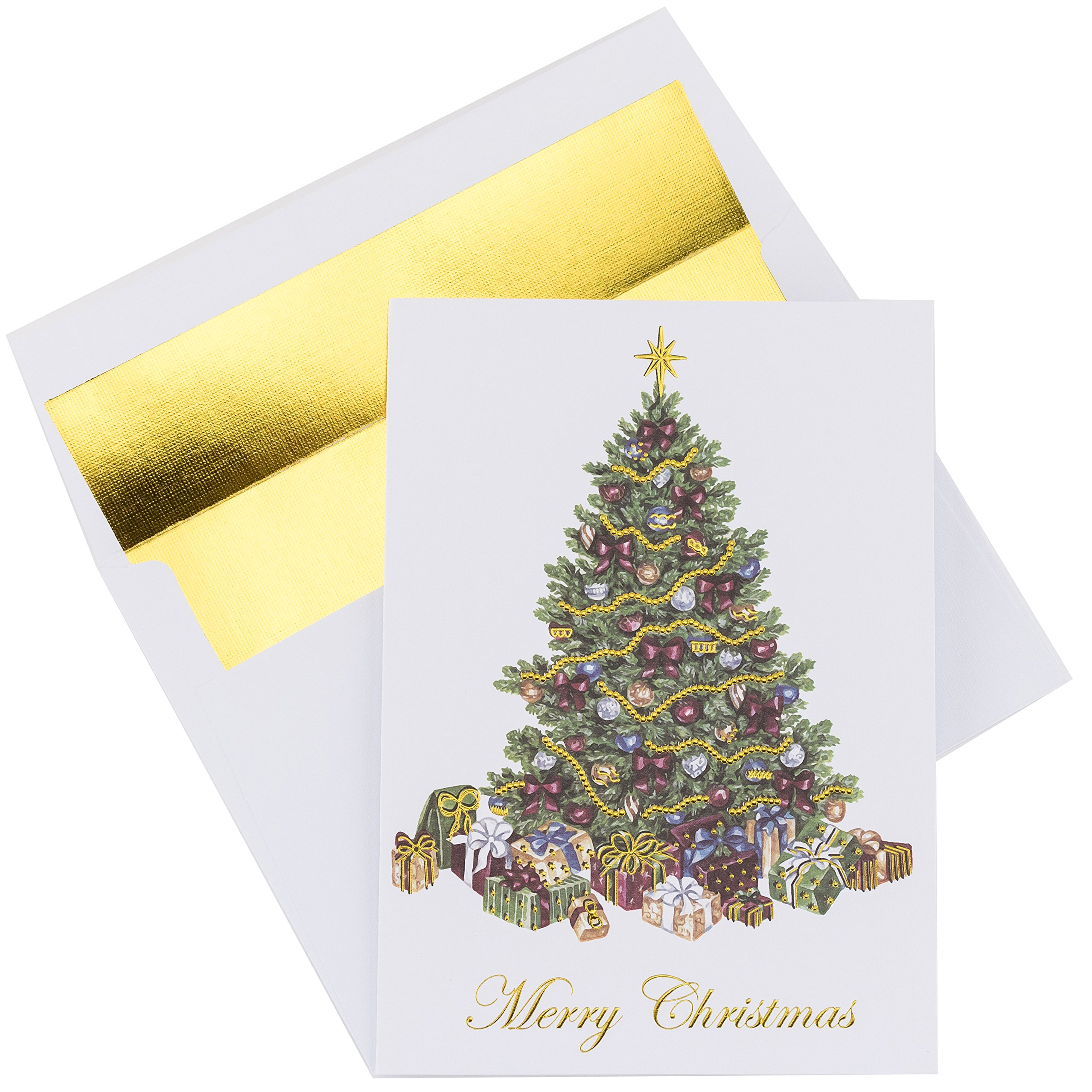 premium christmas cards 20 pack traditional christmas tree with gold embossed foil and linen - Where To Buy Christmas Cards