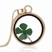 glass bottle four leaf clover necklace,charm pendant necklace(swtaa1284)