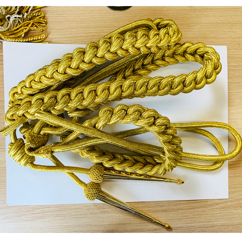 Custom Made Army Aiguillettes Uniform Accessories US Military Braided Gold Shoulder Cords