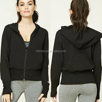 High quality women fitness clothing fleece short active zip up hooded jacket new design women hoodies tracksuit wholesale