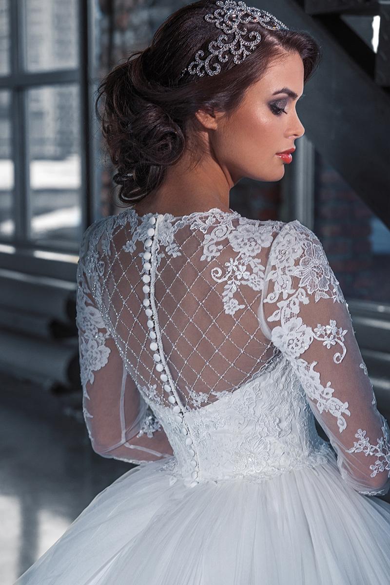 Mesh Sleeve Wedding Dress