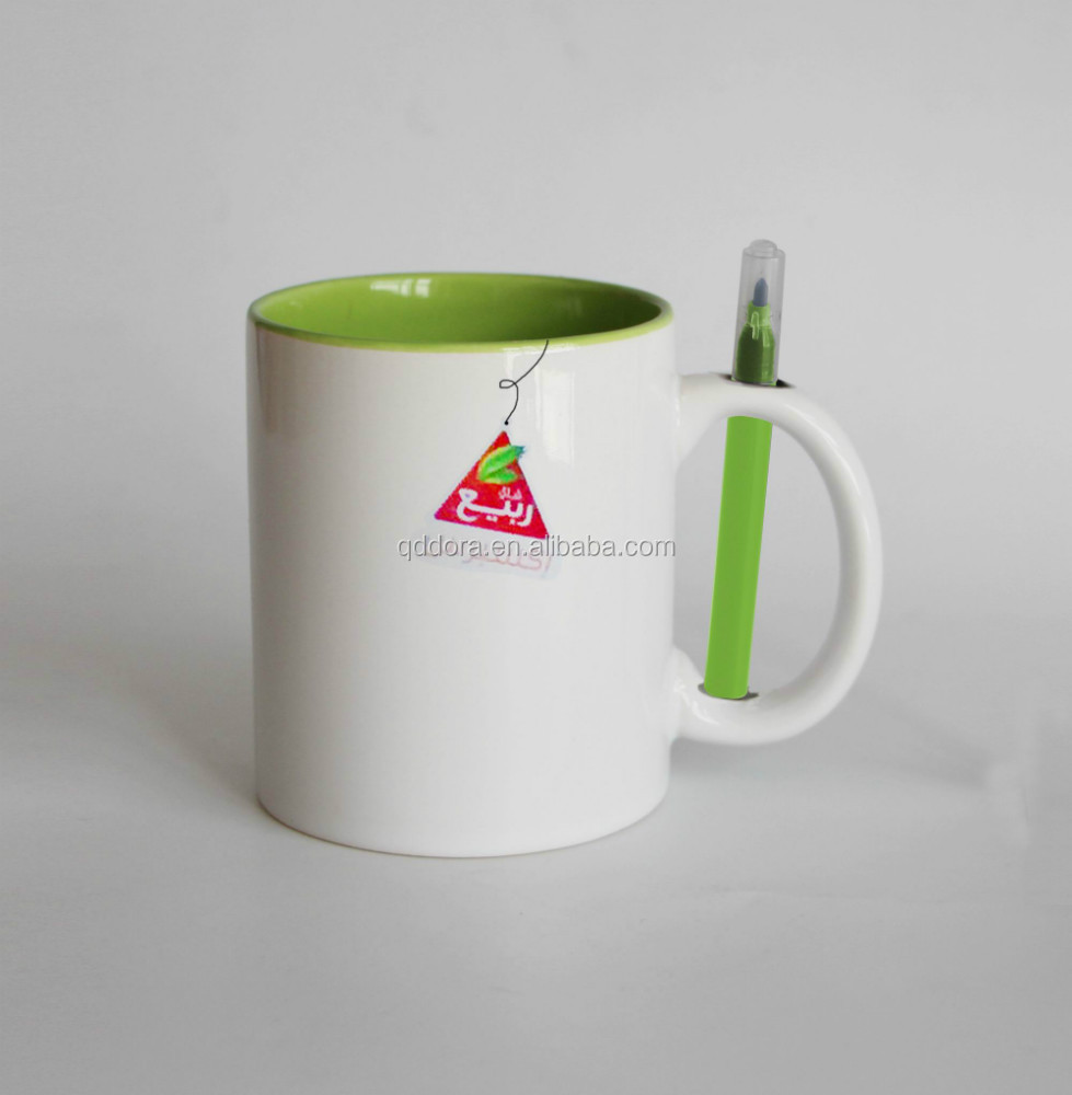 Eco-Friendly Feature and CE / EU,EEC,FDA,LFGB,SGS Certification ceramic mug with color pen