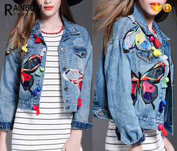 Wholesale Women Washed Denim Jeans Jacket With Embroidered Patch