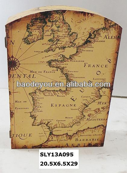 decorative hanging key box with map