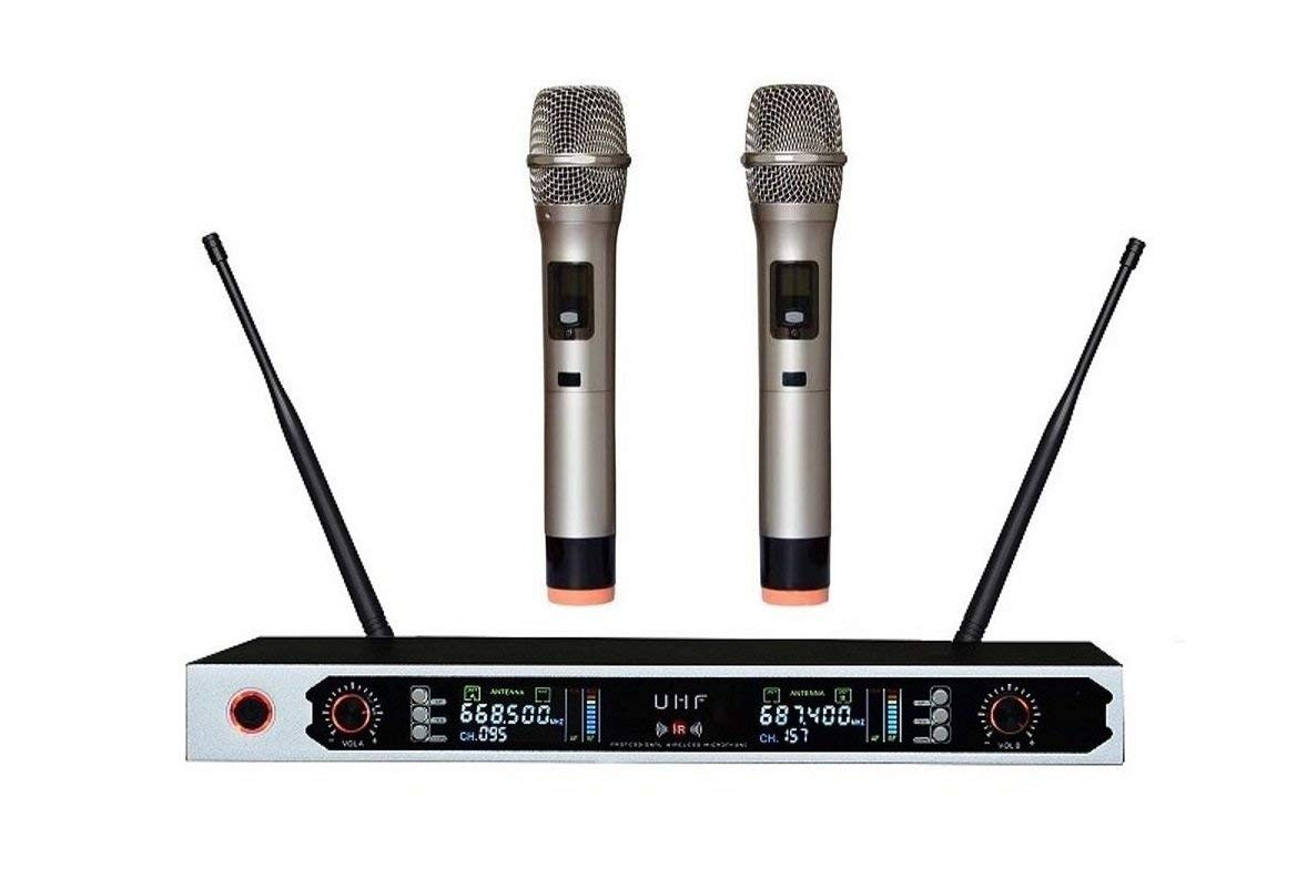 dual channel wireless microphone karaoke Wireless microphone w Digital Colorful LCD Display