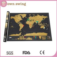 EASY SCRATCH Deluxe Scratch Map/Deluxe Scratch World Map 82.5 x 59.5cm Black Map Scratch/World Map Wall Stickers Scratch Map