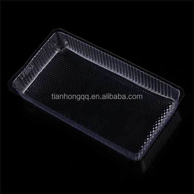 Clear Rectangular Plastic PET cake snack food tray/cookies plastic tray