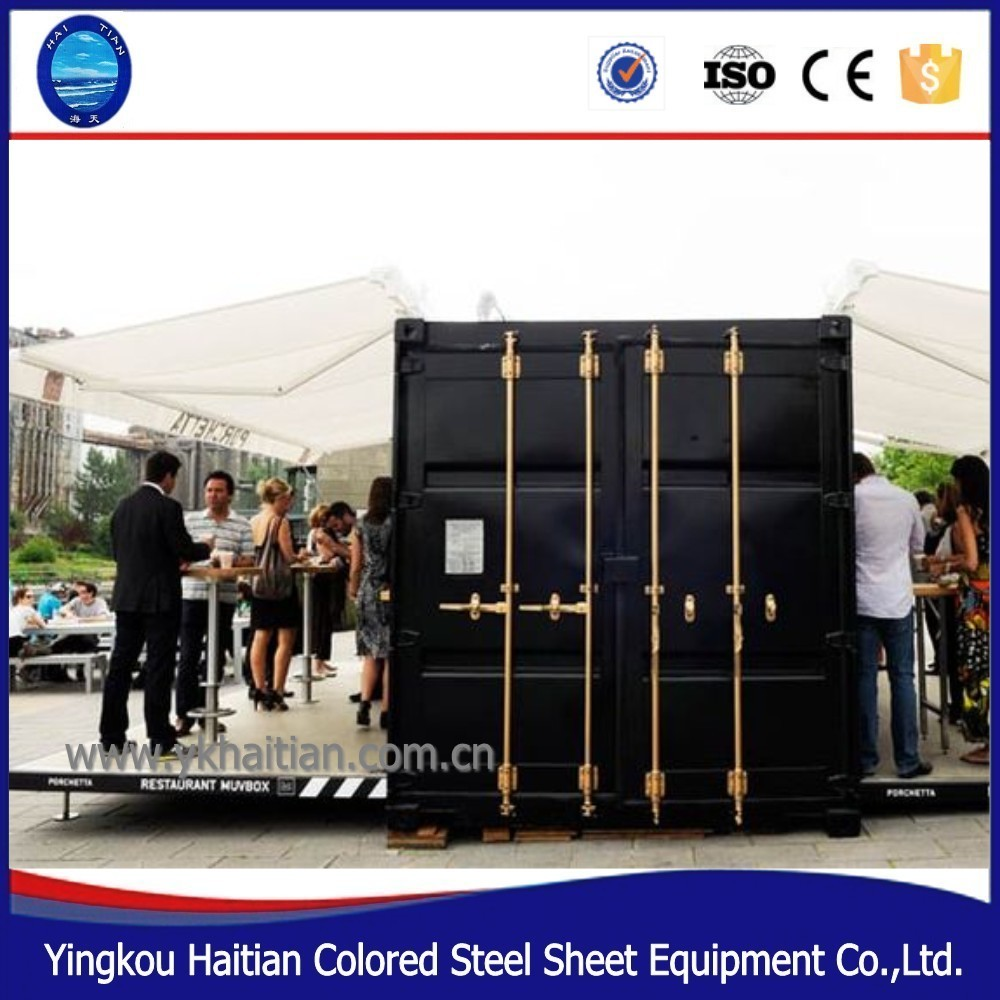 Easy assembling structure luxury prefab Shop Kiosk kit hydraulic opening door 20 ft container coffee bar