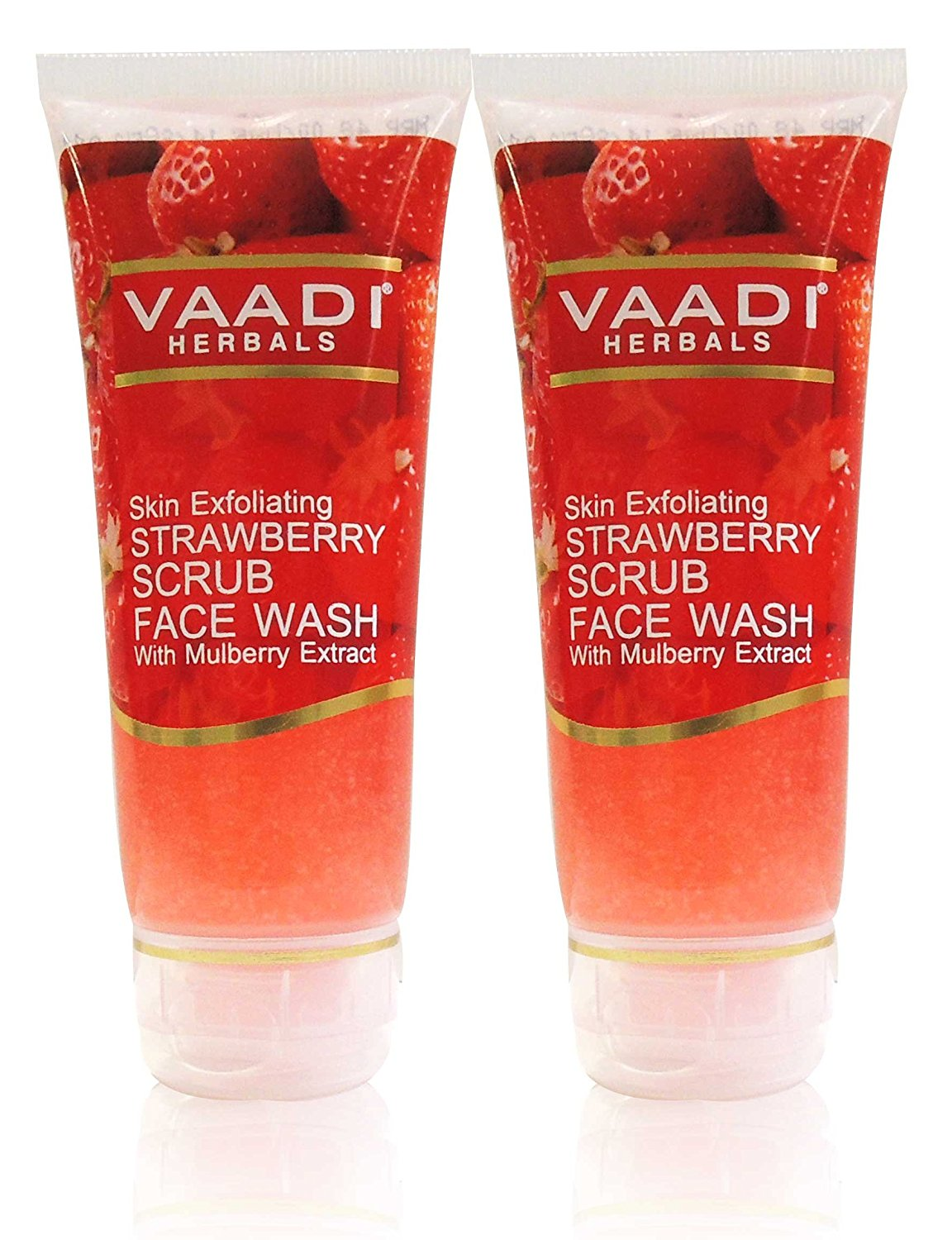 Strawberry Scrub Face Wash with Mulberry Extract - ★ ALL Natural - ★ Soothes and Moisturizes Flaky Skin. ★ Mildly Exfoliates and Lightens Skin - ★ Each 60ml - ★ Value Pack of 2 (120 Ml - 4.05 Ounces) - Vaadi Herbals