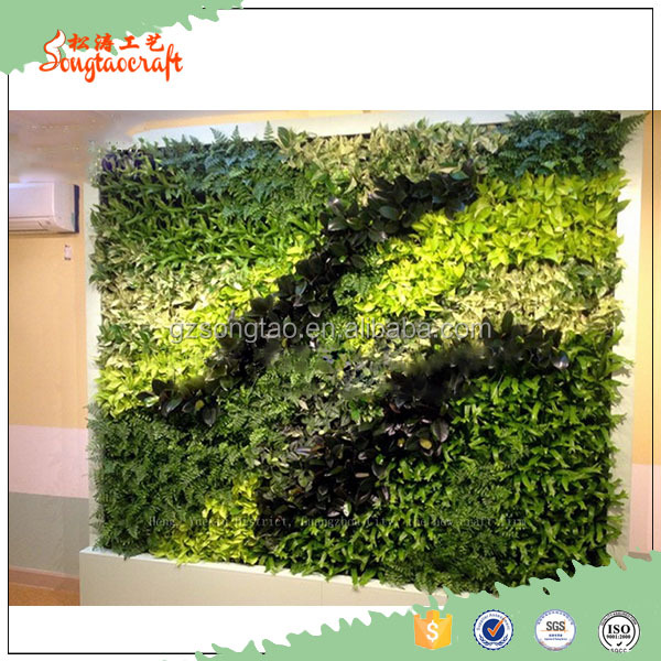 Wholesale artificial vertial green wall plastic plant wall with grass and flowers