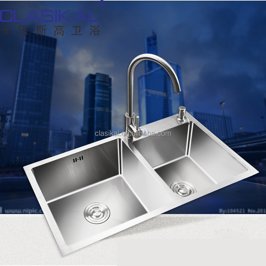 Above top mounted hand made 304 Stainless steel double bowl kitchen sink manufacturing works