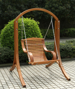 Hot Sell Single Outdoor Patio Garden Swing Bench With Frame Wood