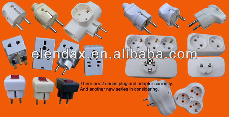 Europe style AC power adaptor with grounding power socket (P8813)