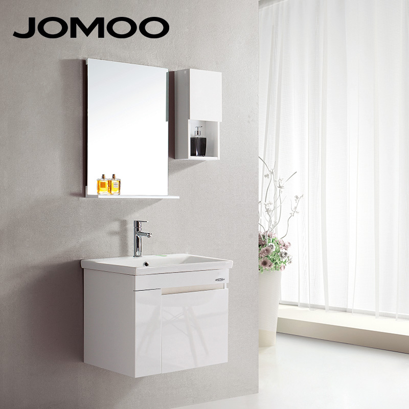 JOMOO 3 color Simple modern Bathroom Vanities High quality PVC Tempered glass bathroom cabinet