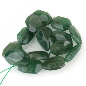 New Green Aventurine Bead Rectangle faceted 25x17x8mm Hole: 2mm 15PCs/Strand Sold Per 15.5 Inch Strand 1315288