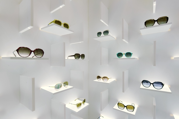 Sunglasses retail shop display wall mounted display shelves with LED lights