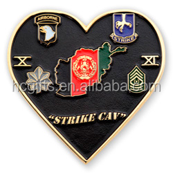 FREE artwork design high quality metal enamel custom heart shape challenge coin