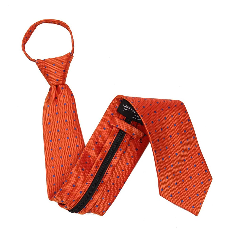 90ff071e2b5 Get Quotations · Mens Orange XL-Zipper Ties Pre Made Ties
