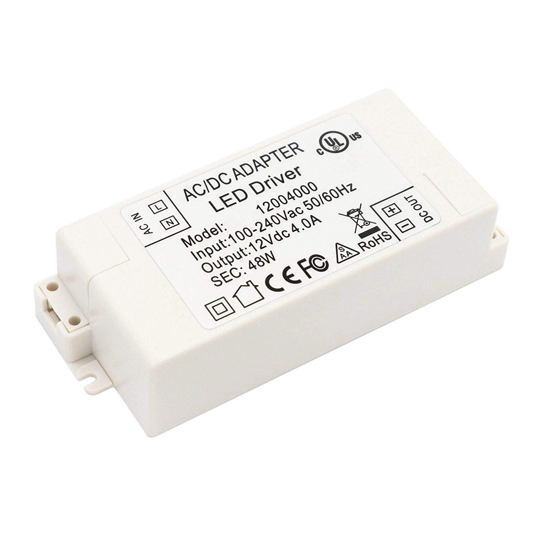 Eforlighting Led Power Supply 12V 4A 48W LED Driver AC DC adapter 100V-240V Power Supply Lighting Transformer LED Lamp Strip 110V 220V