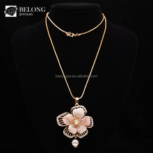 BLN0350 bohemian jewelry 18k gold resin flower pearl pendant necklace