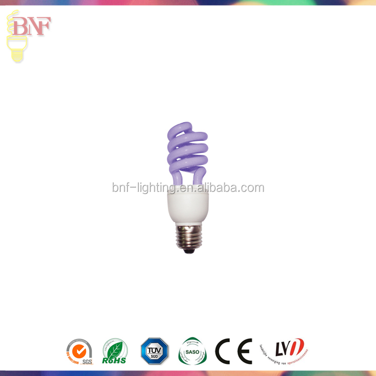 Alibaba Gold Supplier half spiral purple color uv cfl energy saving lights