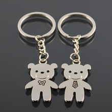 New personalized matching couple keychain custom made metal funny cut bears couple keychain