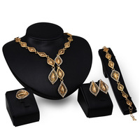 African Fan 18k Gold Jewelry Sets Zircon For Women Wedding Luxury Statement Jewelry Set 4PCS Set