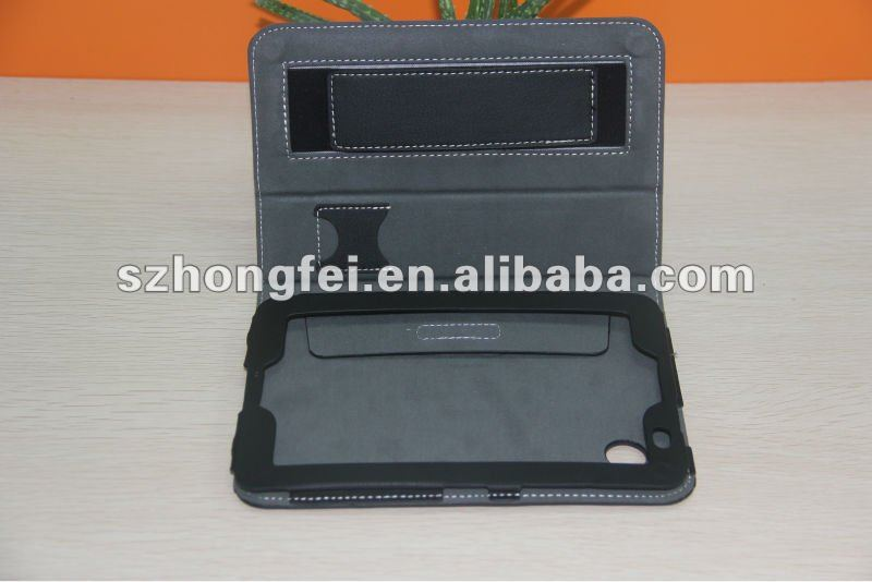 New arriving!!!high quality leather case for mini ipad with hand hold
