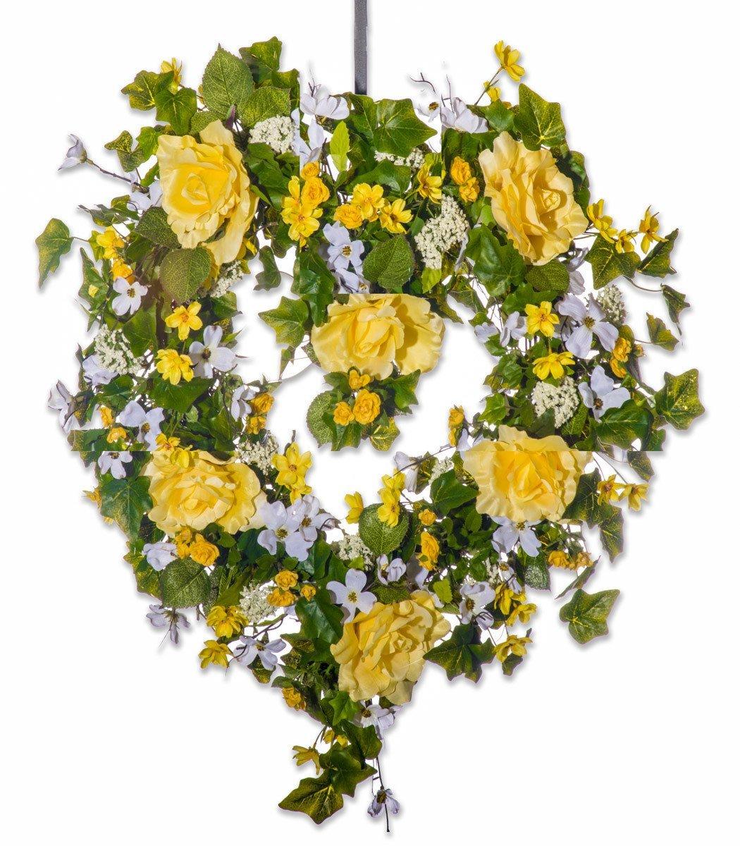 Sunny Heart Yellow Rose Silk Wreath - Valentine's Day, Anniversary or Everyday Wreath
