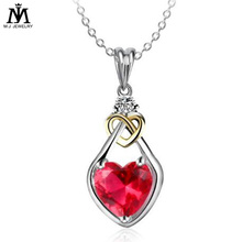 Wholesale Fashion Heart Design Red Ruby 925 Silver Women Elegent Party Pendant Necklace for Women Jewelry