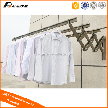 Push Pull Wall Mounted Clothes Drying Racks Aluminium Folding Hanger Rack