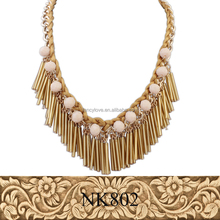 Latest Design Statement Necklace Fashion Long Plastic Pipe Tassel Necklace