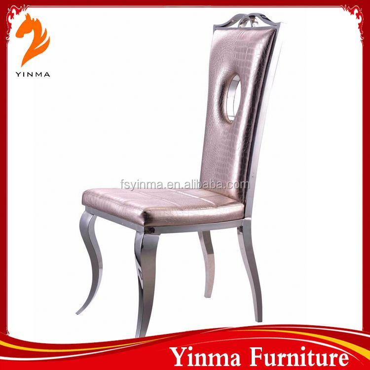 2016 Factory sale modern yellow stainless steel wedding chair for restaurant