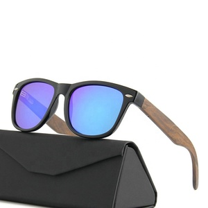 Custom logo stylish printed lenses wooden sunglasses