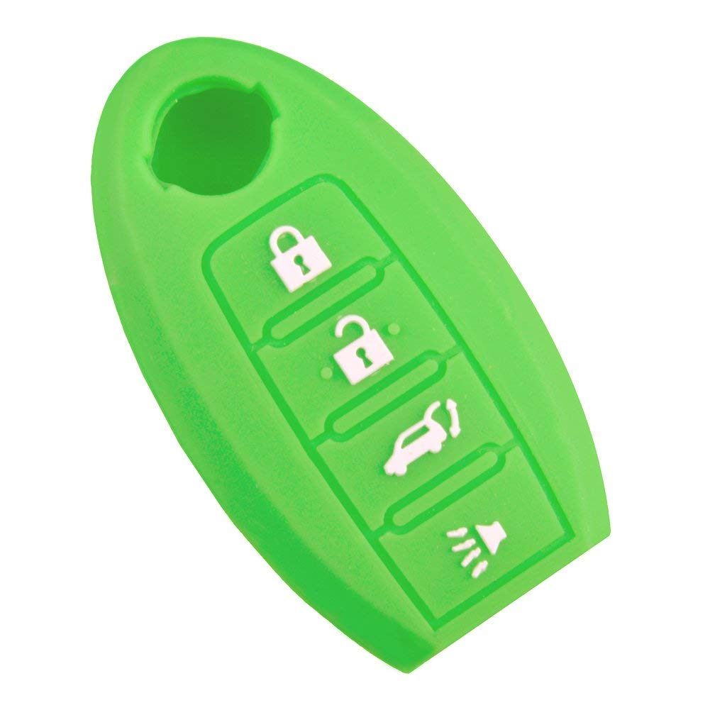 Qty 1 New Green Silicone Replacement KEY Fob Cover Chains Bag Holder replacement for Nissan Maxima Altima Gt-r Sentra Murano 4 Buttons
