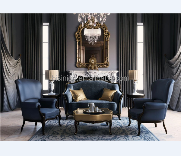 Noble Italian Style Combination Sofa In Royal Blue Antique