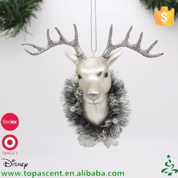 blown glass animated silver deer head christmas ornament - Animated Christmas Ornaments