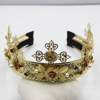 New Design luxury shourouk soft flower imitation pearl metal headband baroque style cross hair accessories wholesale