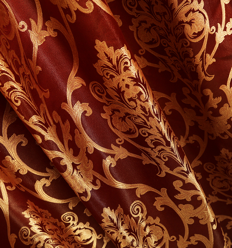 Hot Sales Red Luxury Curtains With Valance Modern Jacquard