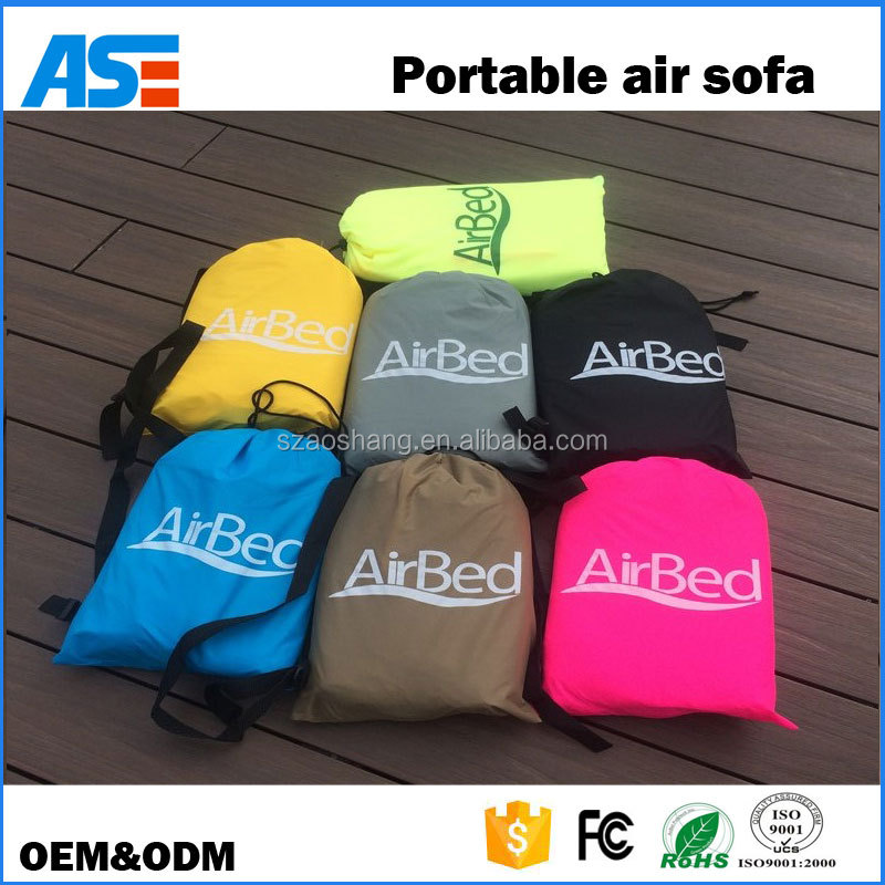 Outdoor inflatable traveling camping lazy laybag air filled hammock with side pockets