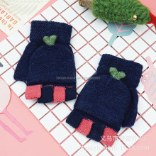 100% acrylic navy blue kids fingerless knitted glove