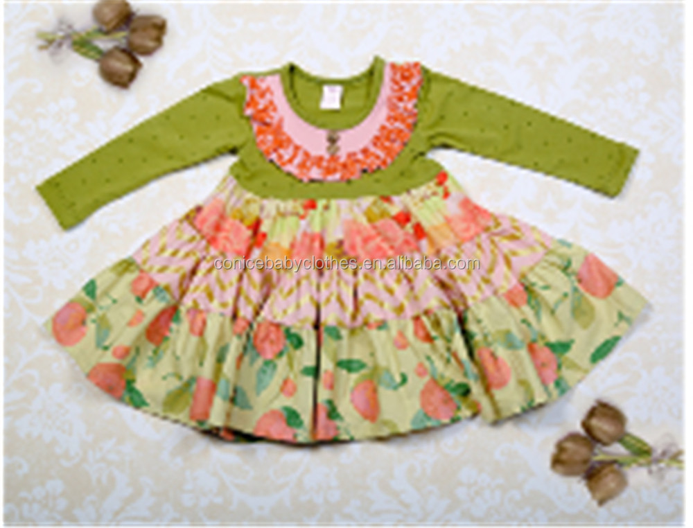 newborn simple cotton baby girl long sleeve ruffle dress for wholesale