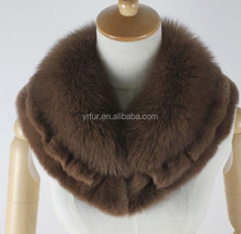 YR798 Genuine real fox fur lenço com franja