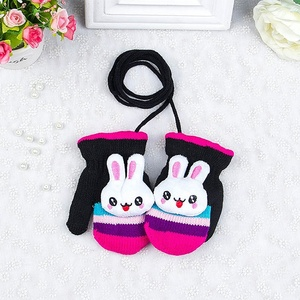 Kids Warm Soft Lined Winter Knit Rabbit Mittens With String