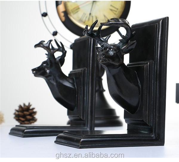 customized study decor resin black deer head unique book stand