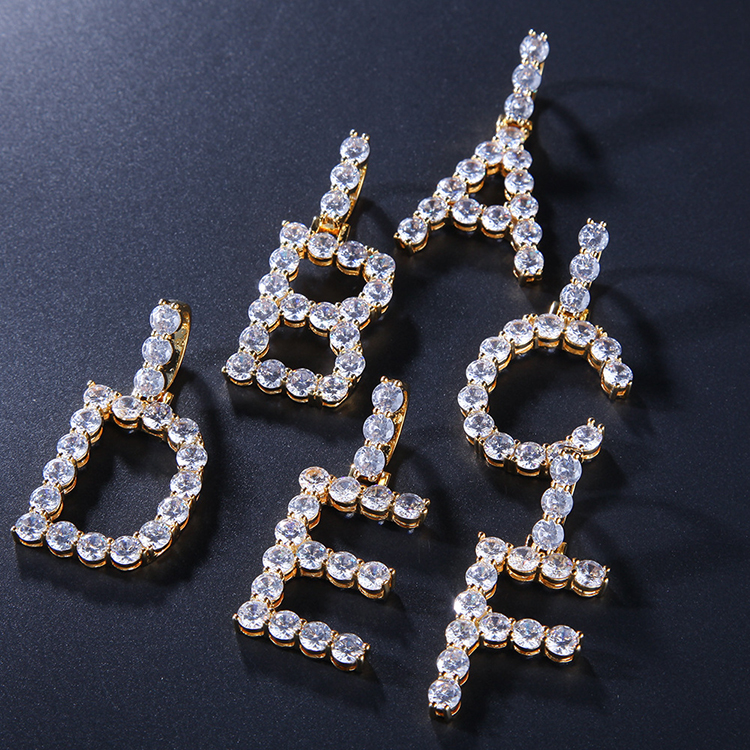 Custom A-Z Letters Necklaces & Pendant For Men Women Stainless Steel Tennis Chain Bling CZ Cubic Zircon Necklace Hip Hop Jewelry