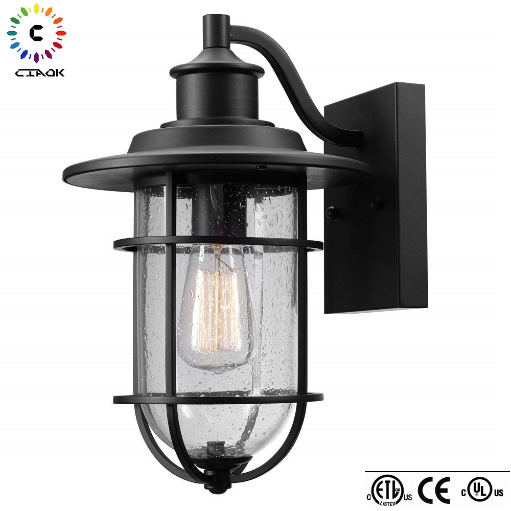 Amazon hot selling charlie 1 light oil rubbed bronze led outdoor wall light fixtures with seeded glass